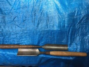 "TWO LARGE WOODWORKING CARVING GOUGES - 2"" & 1 1/2"""