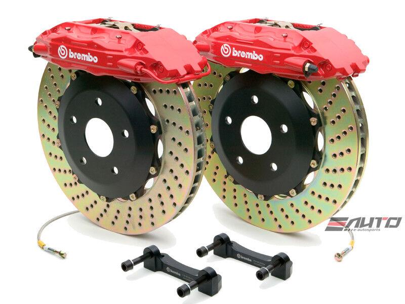 Brembo Front Gt Brake 4pot Caliper Red 332x32 Drill Rotor Rx7 Rx-7 Fd3s 93-95
