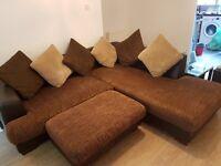 Brown corner sofa and footstool