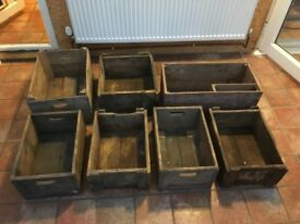 7 x wooden boxes