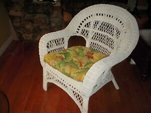 Wicker Chair and Cushion - in Tillsonburg