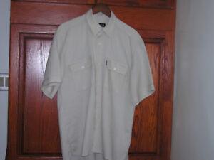 Men's Beige Linen Shirt With Short Sleeves & Pockets Sz M