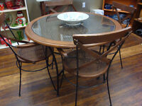 Vintage wrought iron table and 4 chair set $245