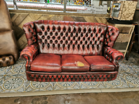 3-seater Red Chesterfield. Second hand