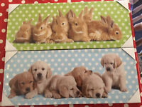 Kids bunny and puppy canvas
