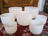Set of 7 Harmonically Tuned Quartz Crystal Singing Bowls