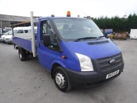 FORD TRANSIT 350 100 RWD LWB DROPSIDE TRUCK WITH TAIL LIFT White Manual Diesel,