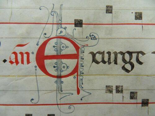 ORIG. BIG GOTHIC MANUSCRIPT ANTIPHONARY PARCHMENT LEAF ITALY 1350 MUSIC
