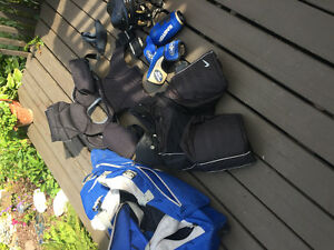 Boys hockey equipment with bag