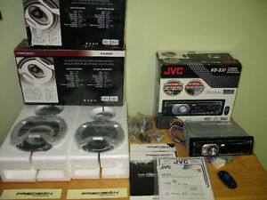 Car Stereo System JVC CD Receiver w Precision Acoustics Speakers