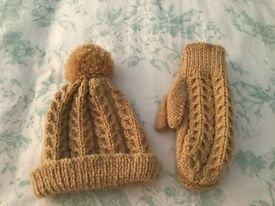 Child's Handmade Aran Hat and Mittens