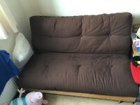 Pine double futon frame and brown mattress