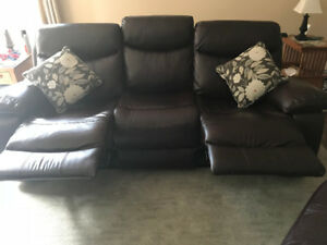 Leather Reclining Sofa and Two Chairs. (Real leather)