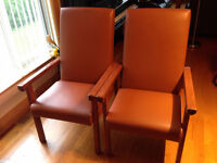 a set of 4 solid armchairs