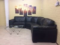 Comfy Black Leather Corner Sofa