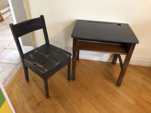 Child's Distressed Rustic Vintage School Inkwell Desk and Chair