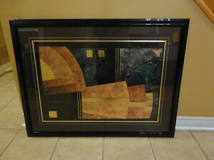 Large decorative black wooden framed abstract print wall hanging London Ontario image 3