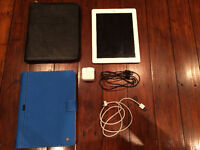 Apple iPad 2 with case,charger, and blue wireless keyboard/case