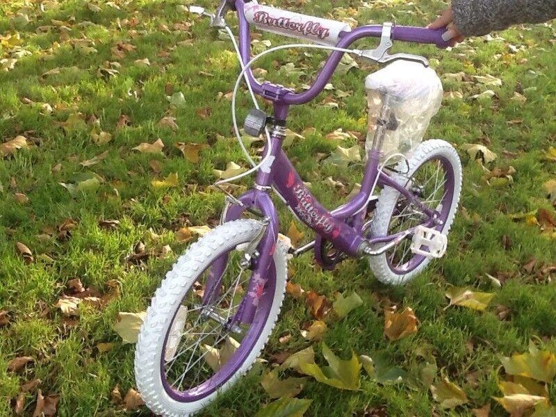 "Kids bike-Girls Bike, brand new Butterfly18"" with Helmet"