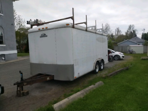 REDUCED8x16 enclosed contractors trailer $3800 or trade for 6x12