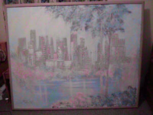 "Large Beautiful Canvas Painting - ""City Skyline from the Lake"""