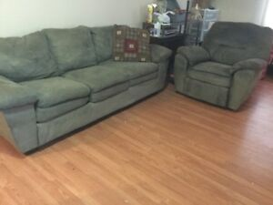 free delivery- microfiber couch and chair