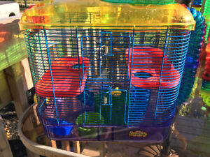 2 hamster cages for sale + tubing