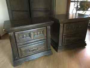 Two wood night end tables