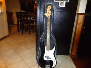 """Fender Squire P-Bass Guitar, Fender """"Rumble 25"""" Bass Amp and $60"""