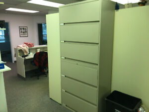 File cabinets - 6 shelf lateral locking cabinets.
