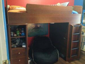 Upper bunk bed unit with desk