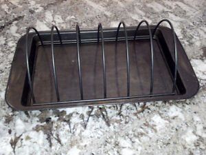 Roasting Rib Rack & Drip Pan for Grill or Oven