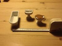 Antique, dolls house bathroom set, china, Made in Germany, basin mended,