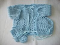 BRAND NEW HAND CROCHETED 3pc BABY SWEATER SETS SALE