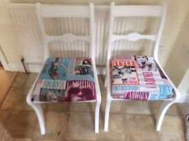 2x chairs Upcycled magazine print