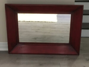 Mirror / Large Solid Brick Red Rustic Mirror ( Pottery Barn)