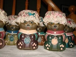 Teddy Bear (Hand painted) glass Collectible set