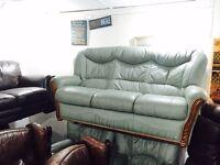 As new Italian leather olive green 3 1 1 sofa set