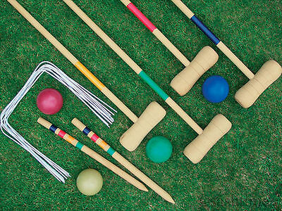 NEW 4 PLAYER COMPLETE WOODEN OUTDOOR GARDEN CROQUET SET MALLET BALLS TOY FUN