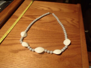 "25"" Beaded Necklace Grey and White Beads"