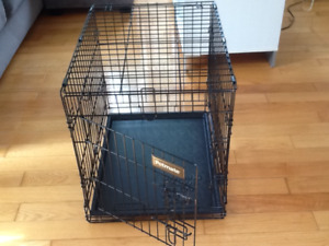 Dog kennel and double bowl holder