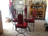 GLASS DINNG TABLE, 6 CHAIRS AND MATCHING SHELVING UNIT