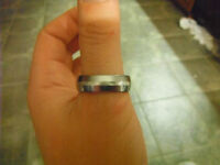 Trew Tungsten Narrow Dome Ring With Platinum Inlay