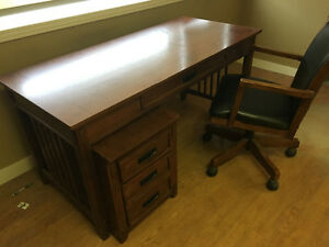 Solid desk, chair & under desk cabinet