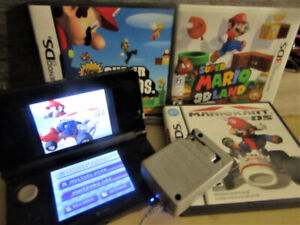 Nintendo 3DS , black with 3 mario games