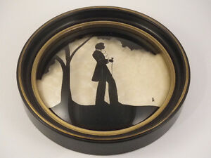 Vintage Reverse Painted Silhouette on Convex Glass