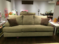 COUCH SET WITH OTTOMAN AND FREE END TABLE - PRICED TO SELL