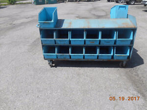 metal moveable storage cart with 26 bins