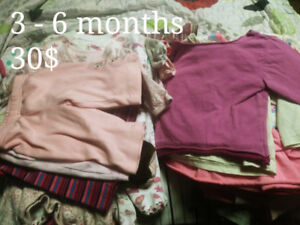 3 months and 3 to 6 months girl clothes.