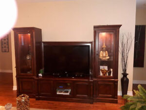 Gorgeous wooden media unit With lighted glass shelving